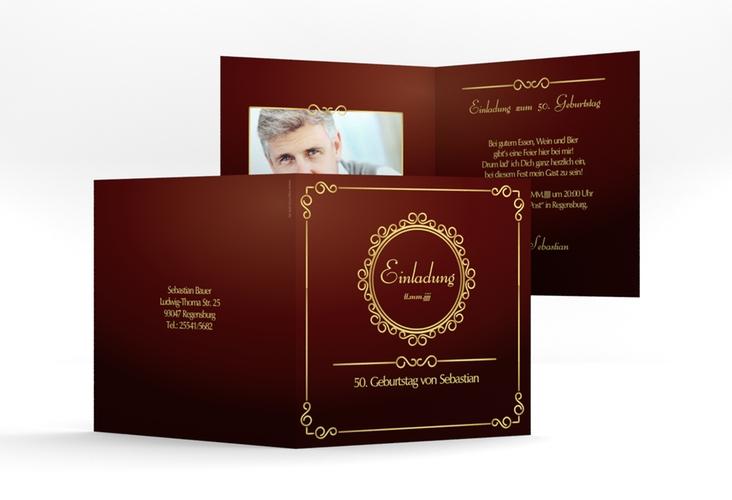 """Einladungskarte """"Bert/Berta"""" Quadratische Klappkarte"""