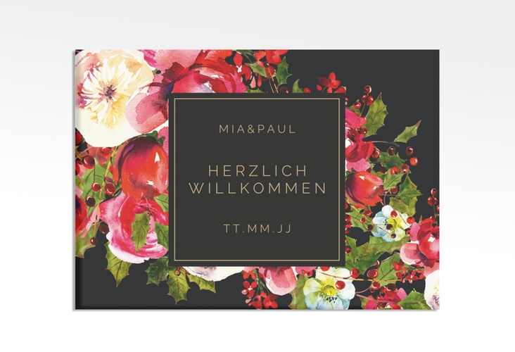 """Willkommensschild Hochzeit """"Blumenpracht"""" 70 x 50 cm Leinwand"""
