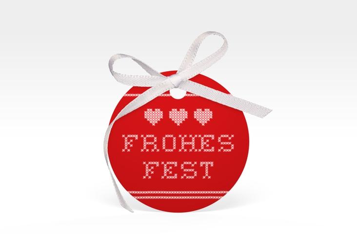 """Geschenkanhänger Weihnachten """"Stitch"""" Geschenkanhänger, rund rot"""