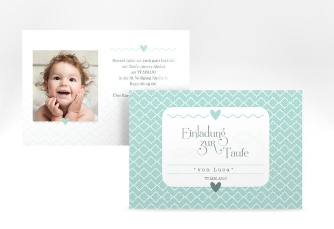 """Einladung Taufe """"Fancy"""" A6 Karte"""