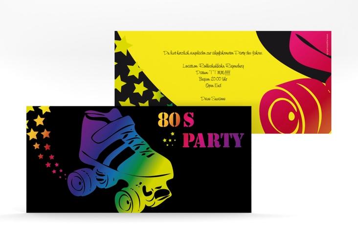 """Partyeinladung """"Eighties"""" DIN lang schwarz"""
