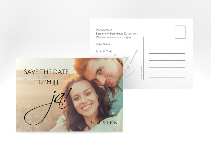 "Save the Date-Postkarte ""Clarity"" A6 Postkarte schwarz"
