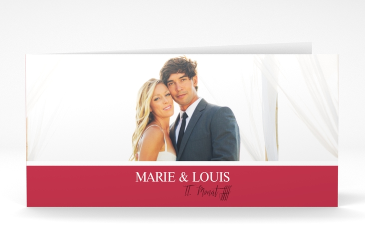 """Danksagungskarte Hochzeit  """"Balance"""" DIN lang Klappkarte rot"""