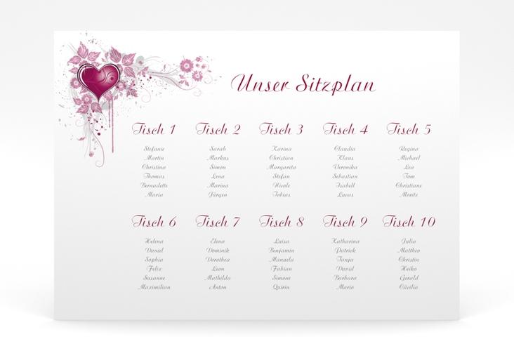 """Sitzplan Poster Hochzeit """"Triest"""" 70 x 50 cm Poster pink"""