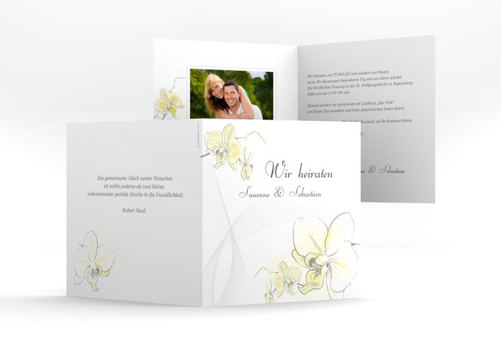 """Einladung Hochzeit """"Modena"""" Quadratische Klappkarte gelb"""