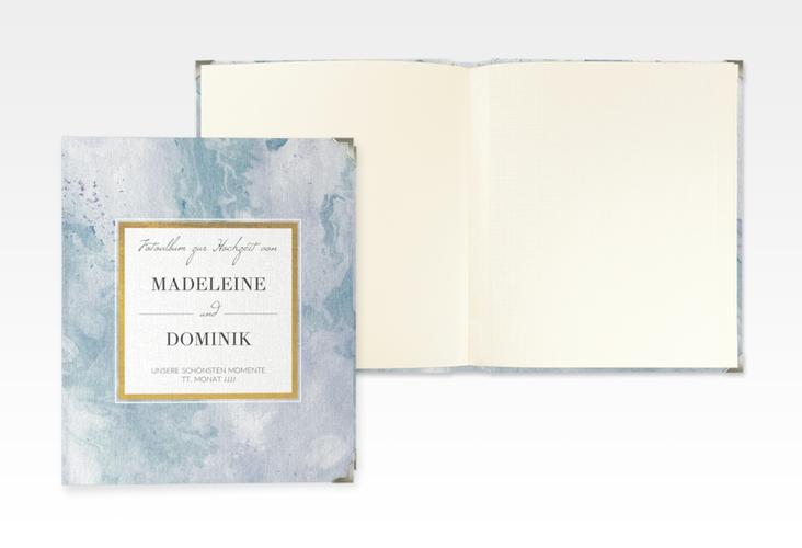 """Hochzeitsalbum """"Marble"""" 21 x 25 cm blau"""