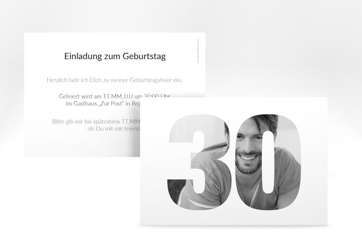 """Einladungskarte """"Numbers"""" A6 quer weiss"""