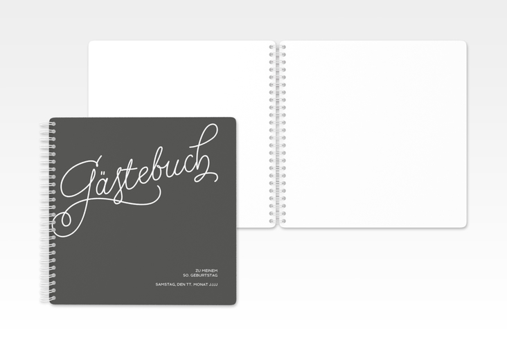 "Gästebuch Geburtstag ""Schwungvoll"" Ringbindung grau"