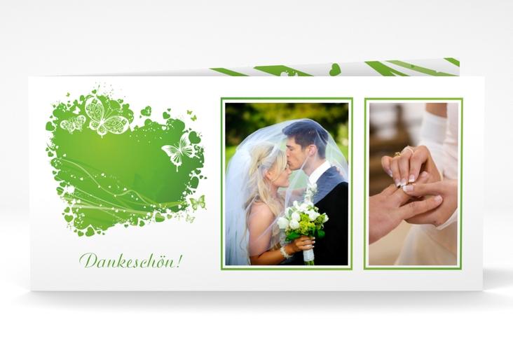 "Danksagungskarte Hochzeit ""Mailand"" DIN lang Klappkarte gruen"