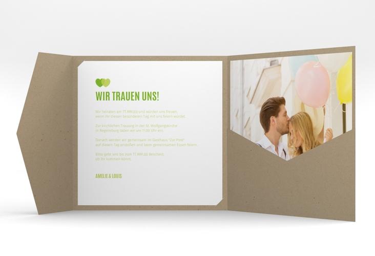 """Hochzeitseinladung """"Couple"""" Pocketfold gruen"""