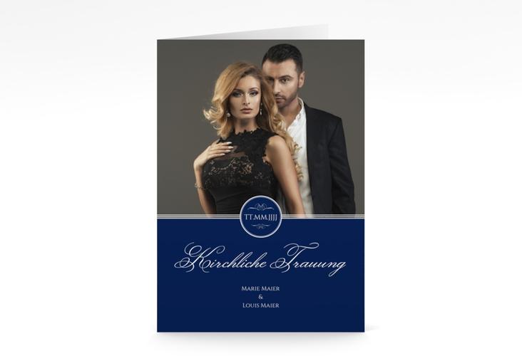 """Kirchenheft Hochzeit """"Elegancy"""" DIN A5 geklappt blau"""