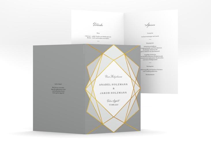 "Menükarte Hochzeit ""Geometric"" DIN A5 geklappt grau"
