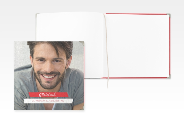 "Gästebuch Selection Geburtstag ""Happy"" Leinen-Hardcover rot"
