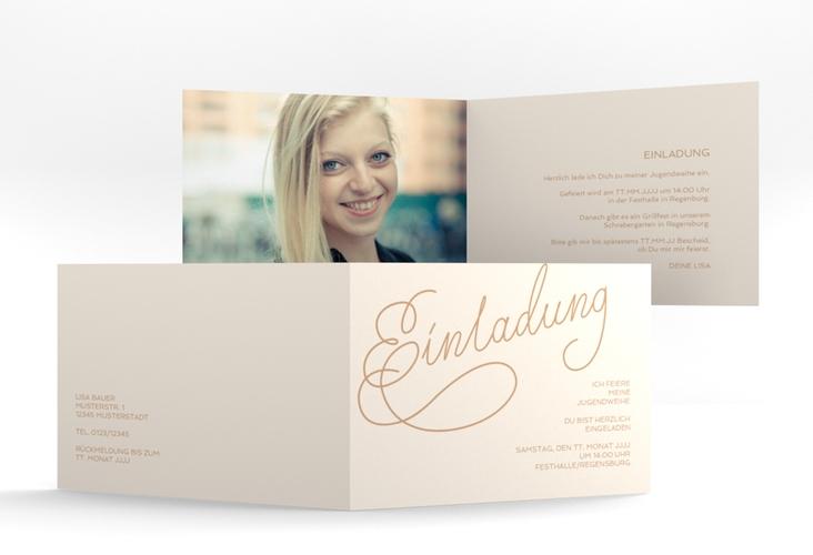 """Einladungskarte Jugendweihe """"Swinging"""" A6 Klappkarte Quer beige"""