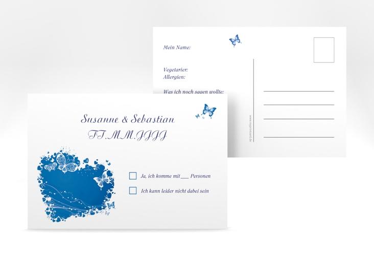 "Antwortkarte Hochzeit ""Mailand"" A6 Postkarte blau"