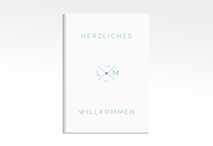"""Willkommensschild Hochzeit """"Initials"""" 50 x 70 cm Leinwand tuerkis"""