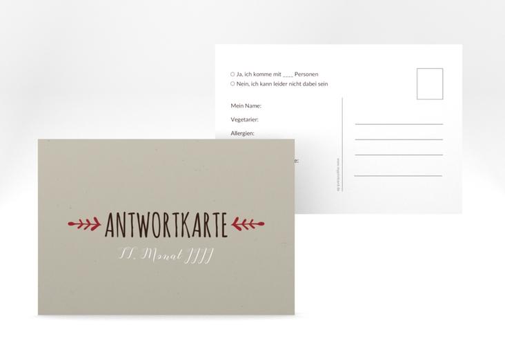 """Antwortkarte Hochzeit """"Eden"""" A6 Postkarte rot"""