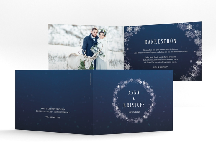 "Danksagungskarte Hochzeit ""Winterdream"" A6 Klappkarte Quer"