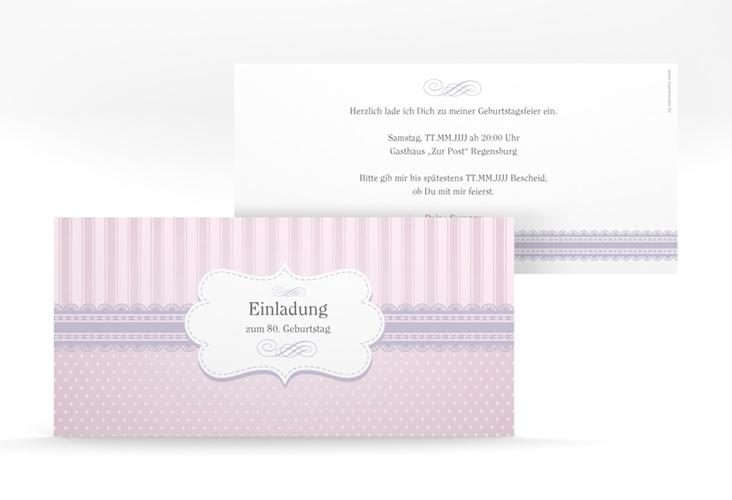 """Einladungskarte """"Heinrich/Henriette"""" DIN lang rosa"""