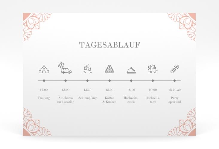 """Tagesablauf Poster Hochzeit """"Nostalgie"""" 70 x 50 cm Poster apricot"""