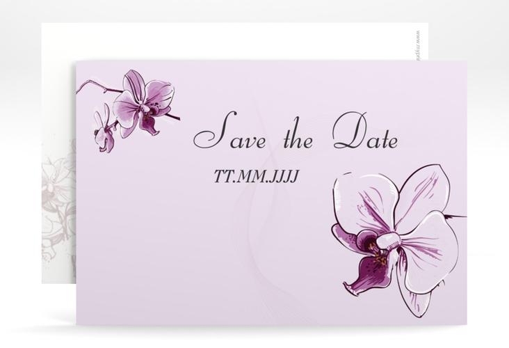 "Save the Date-Karte Hochzeit ""Modena"" A6 quer lila"
