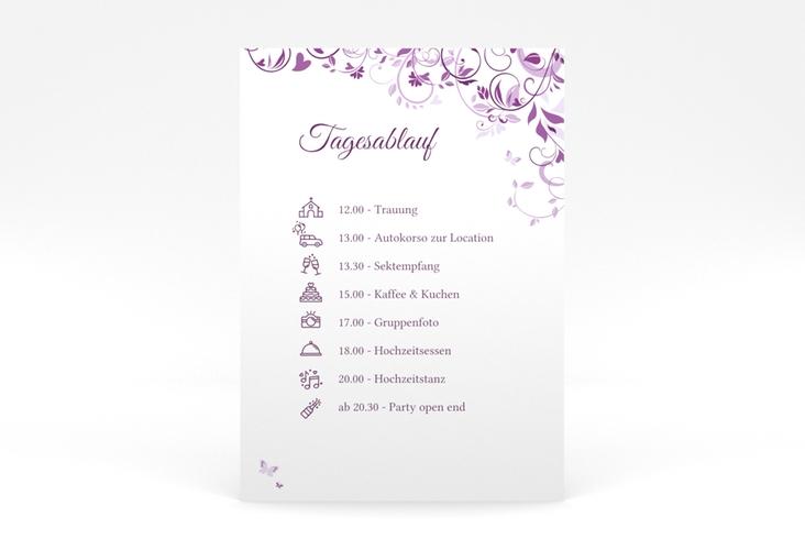 """Tagesablauf Poster Hochzeit """"Lilly"""" 50 x 70 cm Poster lila"""