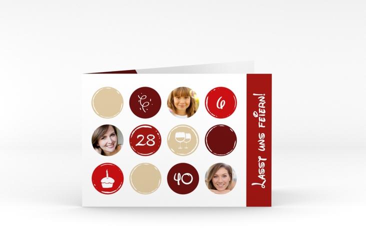 "Einladungskarte ""Circles"" A6 Klappkarte Quer rot"