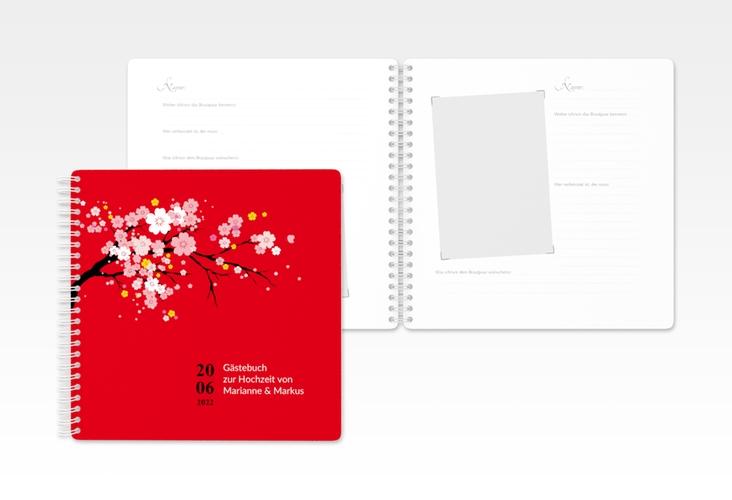 "Gästebuch Hochzeit ""Sakura"" Ringbindung rot"