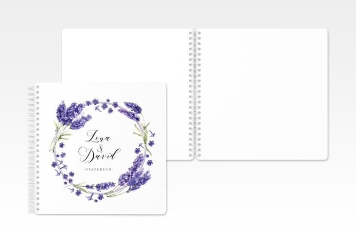 """Gästebuch Hochzeit """"Lavendel"""" Ringbindung"""