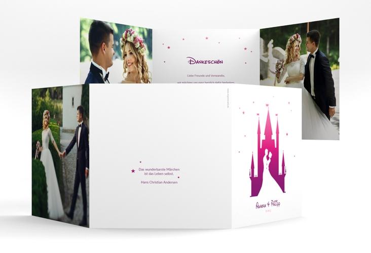 """Dankeskarte Hochzeit """"Castle"""" Quadr. Karte doppelt pink"""