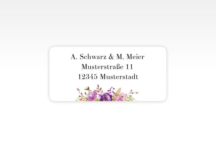 """Absenderetikett Hochzeit """"Violett"""" 45,7 x 21,2 mm weiss"""