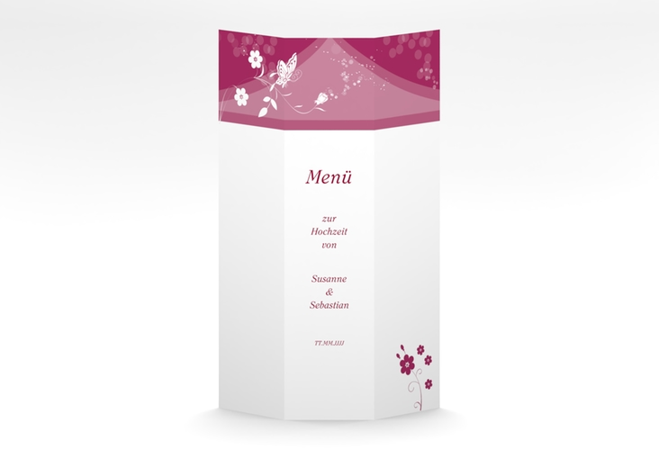 "Menükarte Hochzeit ""Verona"" DIN A4 Wickelfalz pink"