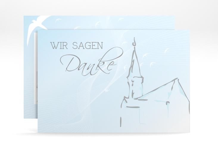 """Dankeskarte Taufe """"Church"""" A6 quer blau"""