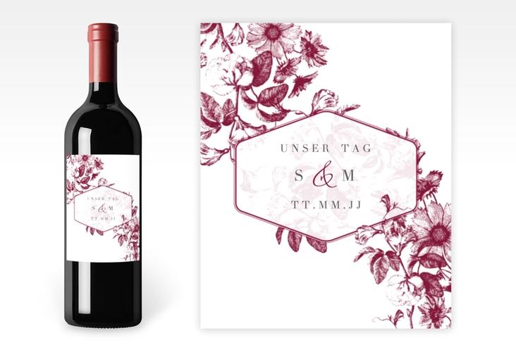 """Weinetikett zur Hochzeit """"Magnificent"""" Etikett Weinflasche 4er Set rot"""