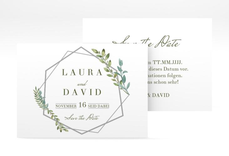 """Save the Date-Visitenkarte """"Herbarium"""" Visitenkarte grau"""