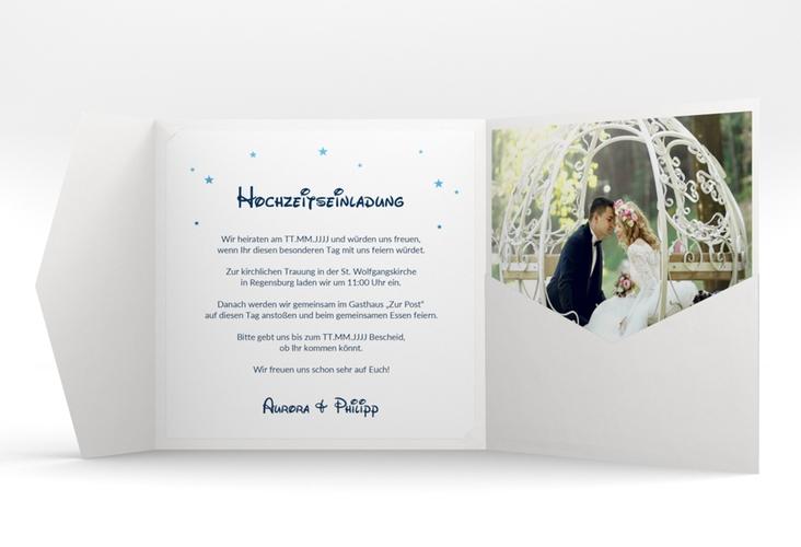 """Hochzeitseinladung """"Castle"""" Pocketfold blau"""