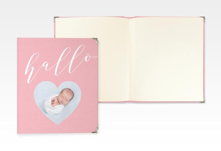 """Baby Fotoalbum """"Hallo"""" 21 x 25 cm rosa"""