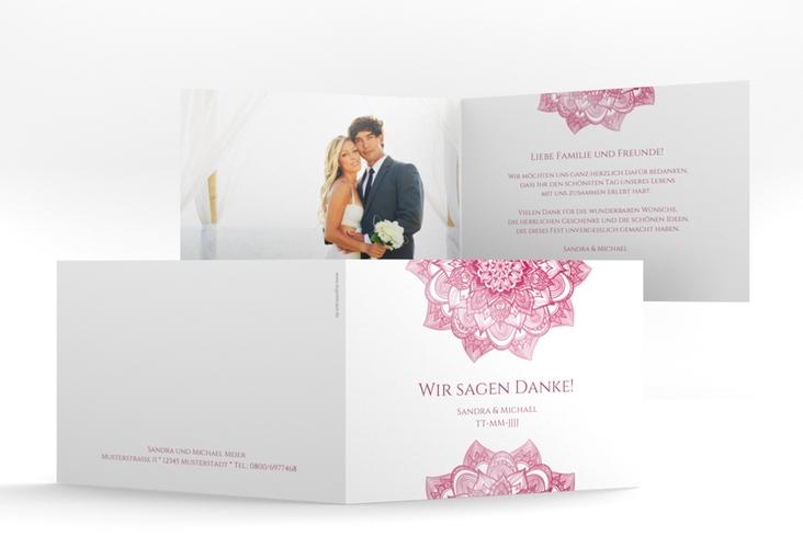 "Danksagungskarte Hochzeit ""Delight"" A6 Klappkarte Quer pink"