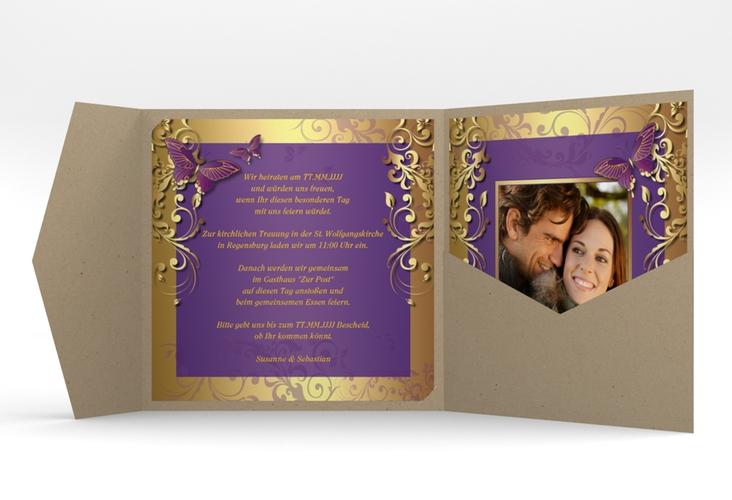 """Hochzeitseinladung """"Toulouse"""" Pocketfold lila"""