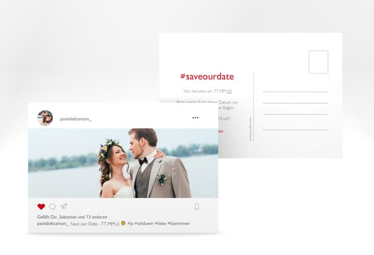"Save the Date-Postkarte ""Posting"" A6 Postkarte weiss"