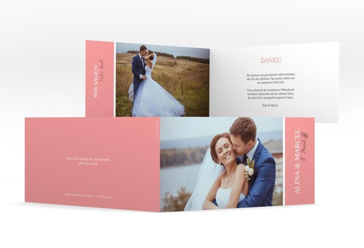 """Danksagungskarte Hochzeit """"Classic"""" DIN lang Klappkarte rosa"""