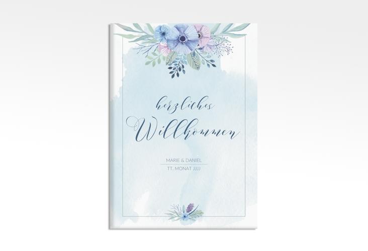 """Willkommensschild Hochzeit """"Surfinia"""" 50 x 70 cm Leinwand blau"""