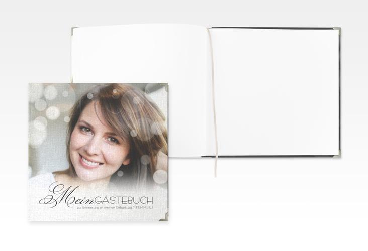 "Gästebuch Selection Geburtstag ""Luminous"" Leinen-Hardcover schwarz"