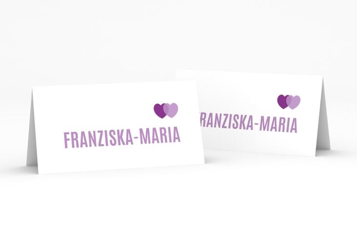 """Tischkarte Hochzeit """"Couple"""" Tischkarten lila"""