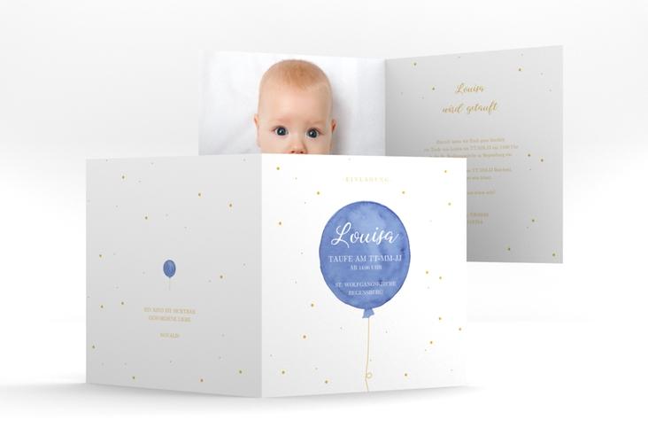 """Einladung Taufe """"Balloon"""" Quadratische Klappkarte blau"""