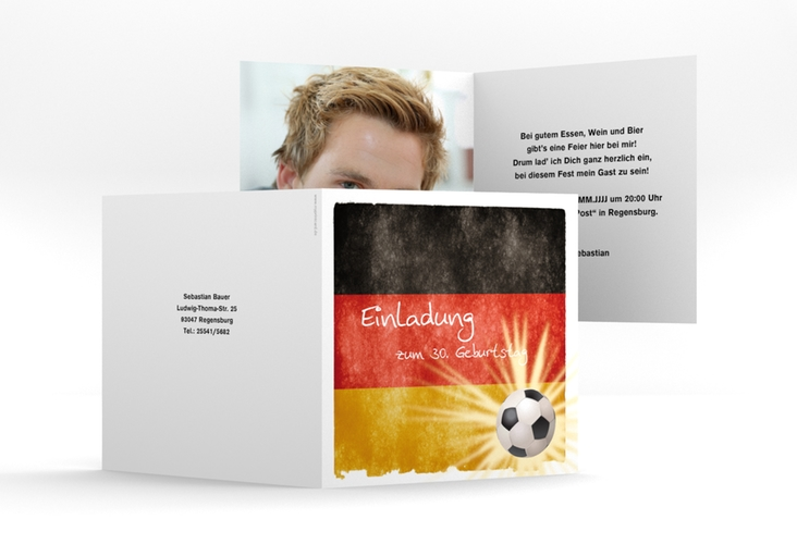 """Einladungskarte """"Markus"""" Quadratische Klappkarte"""