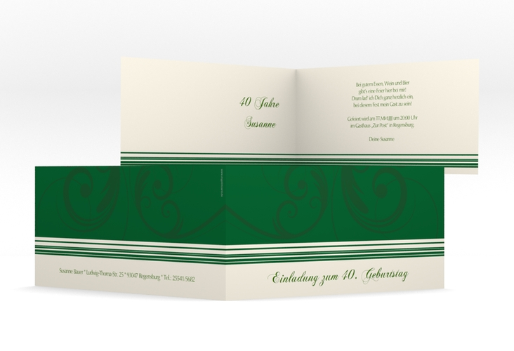 "Einladungskarte ""Katharina"" DIN lang Klappkarte gruen"