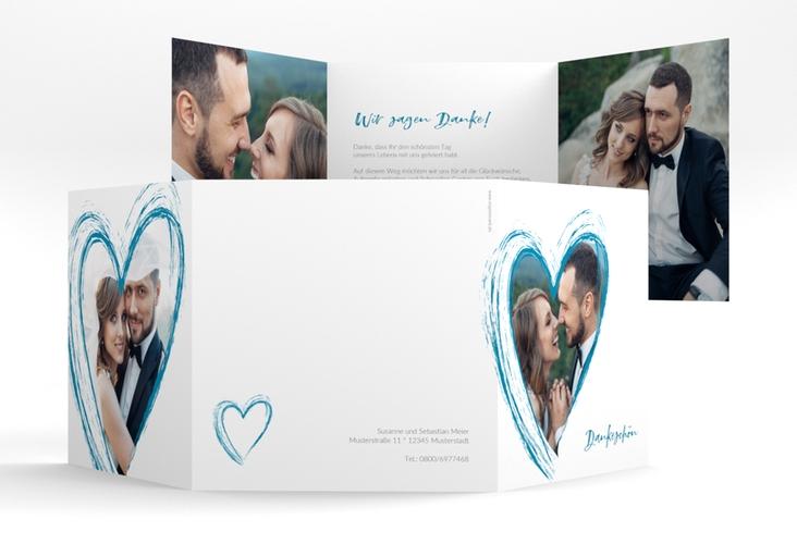 """Dankeskarte Hochzeit """"Liebe"""" Quadr. Karte doppelt tuerkis"""