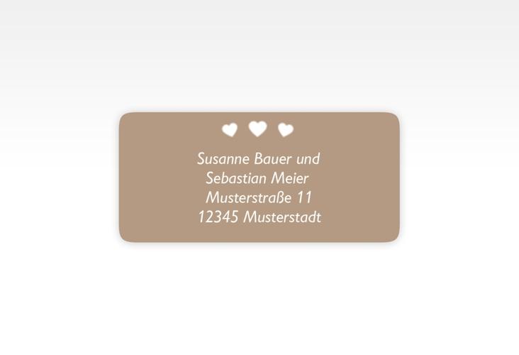 """Absenderetikett Hochzeit """"Jena"""" 45,7 x 21,2 mm braun"""