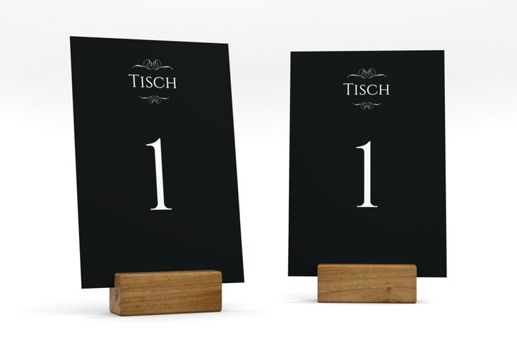 """Tischnummer Hochzeit """"Elegancy"""" Tischaufsteller schwarz"""